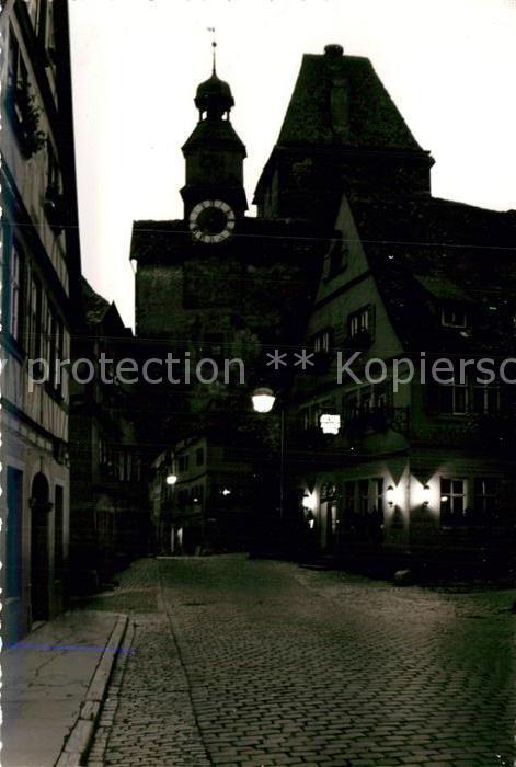 AK / Ansichtskarte Rothenburg Tauber Markustor Nachtaufnahme Kat. Rothenburg ob der Tauber