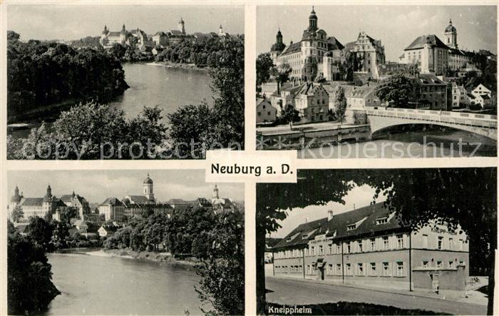 AK / Ansichtskarte Neuburg Donau Teilansicht Partie an der Donau Kneippheim Donaubruecke Kat. Neuburg a.d.Donau