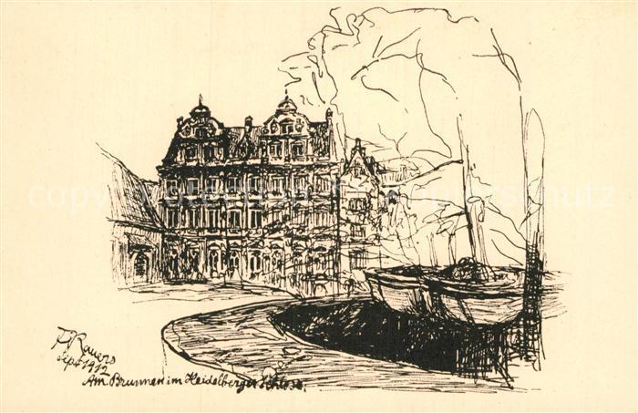 AK / Ansichtskarte Heidelberg Neckar Schlosshof Friedrichsbau Federskizzen Kat. Heidelberg