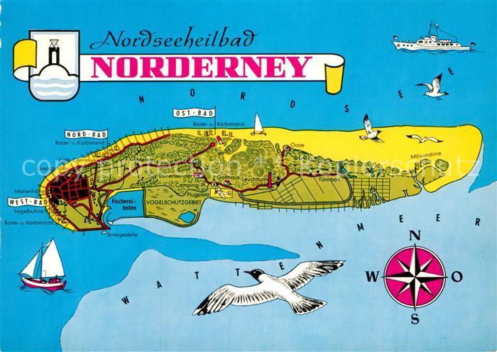AK / Ansichtskarte Norderney Nordseebad Nordseeinsel Landkarte Wattenmeer Kompass Moewen Kat. Norderney
