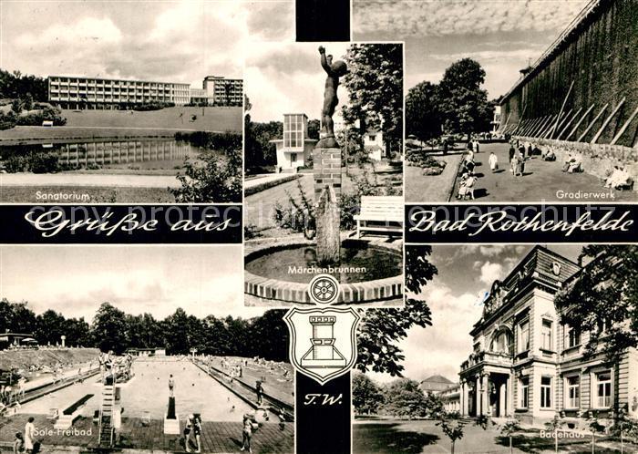 AK / Ansichtskarte Bad Rothenfelde Sanatorium Gradierwerk Sole Freibad Badehaus Maerchenbrunnen Kat. Bad Rothenfelde