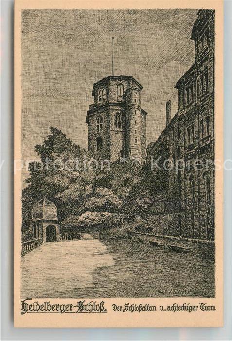 AK / Ansichtskarte Heidelberg Neckar Schloss achteckiger Turm Kuenstlerkarte Kat. Heidelberg