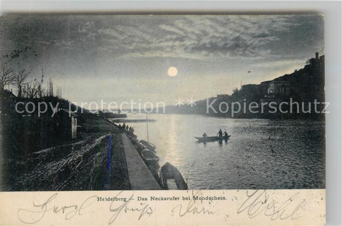 AK / Ansichtskarte Heidelberg Neckar Neckarpartie im Mondschein Kat. Heidelberg