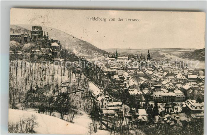 AK / Ansichtskarte Heidelberg Neckar Blick von der Terrasse auf Schloss und Stadt Kat. Heidelberg