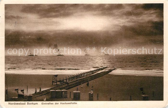 AK / Ansichtskarte Borkum Nordseebad Eintreffen der Hochseeflotte Kat. Borkum