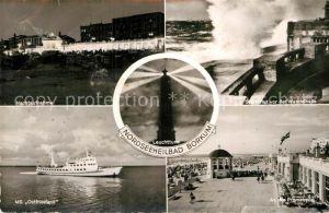 AK / Ansichtskarte Borkum Nordseebad Nachtansicht Personenschiff Ostfriesland Promenade Sturmflut Leuchtturm  Kat. Borkum