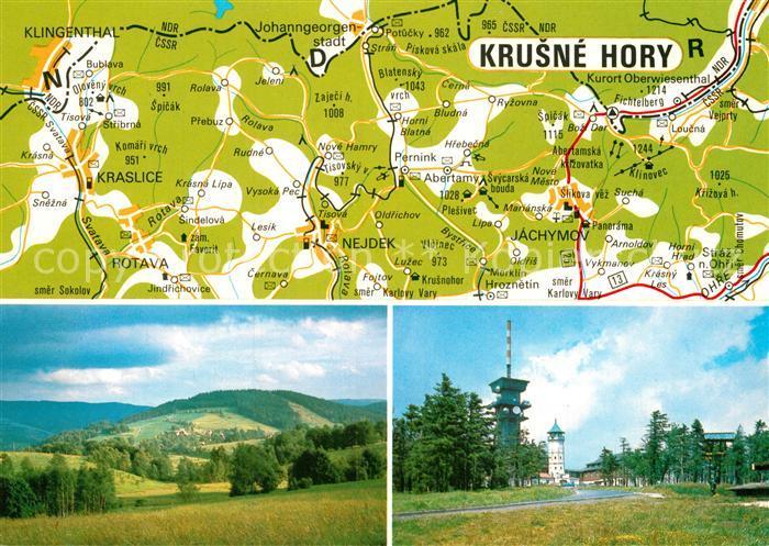 AK / Ansichtskarte Krusne Hory Landkarte Sendeturm Kat. Tschechische Republik