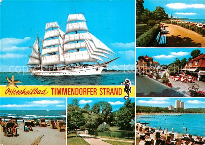 AK / Ansichtskarte Timmendorfer Strand Dreimaster Kurpark Strand  Kat. Timmendorfer Strand