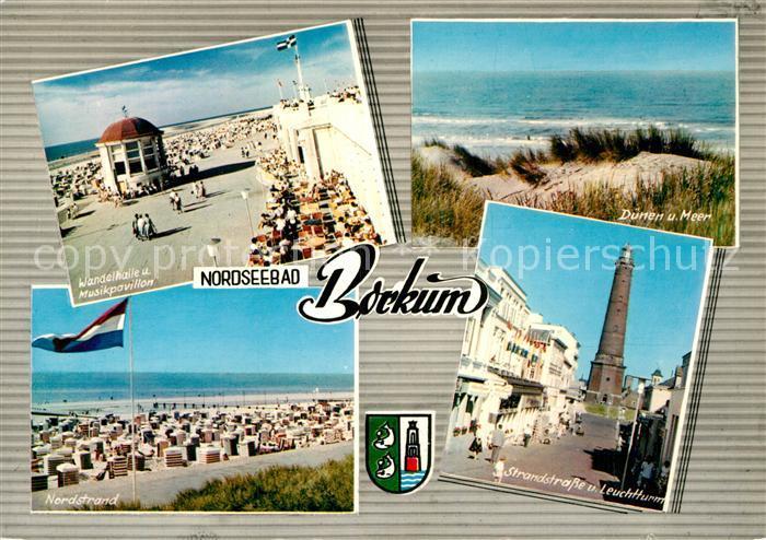 AK / Ansichtskarte Borkum Nordseebad Strandstrasse Leuchtturm Wandelhalle Musikpavillon Nordstrand D?nen Meer Kat. Borkum
