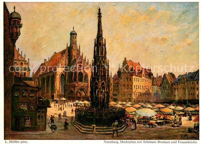 AK / Ansichtskarte Nuernberg Marktplatz Schoener Brunnen Frauenkirche nach Originalgemaelde von Ludwig Moessler Kat. Nuernberg