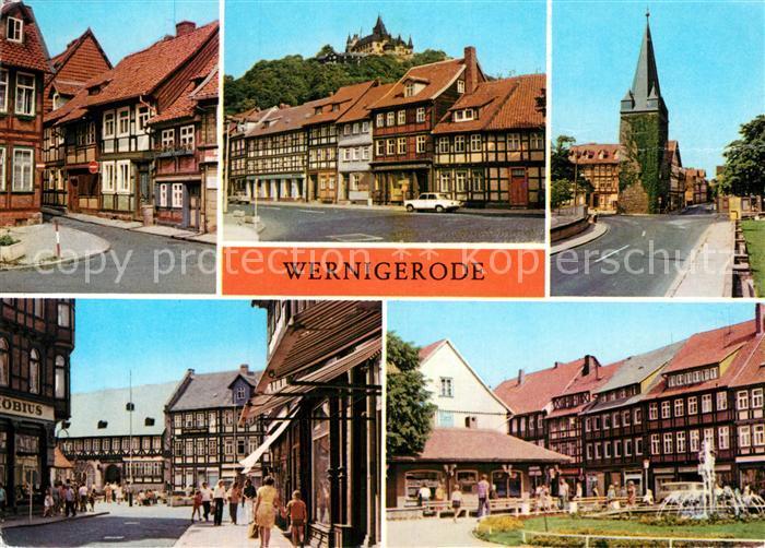 AK / Ansichtskarte Wernigerode Harz Kleinste Haus der Stadt Feudalmuseum Schloss Westerntorturm Hotel Gothisches Haus Nikolaiplatz Kat. Wernigerode