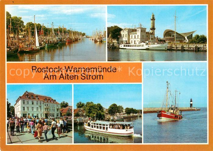 AK / Ansichtskarte Warnemuende Ostseebad Alter Sturm Leuchtturm Konsum Gaststaette Teepott FDGB Erholungsheim Fahrgastschiff Weisse Flotte Fischkutter Mole Kat. Rostock