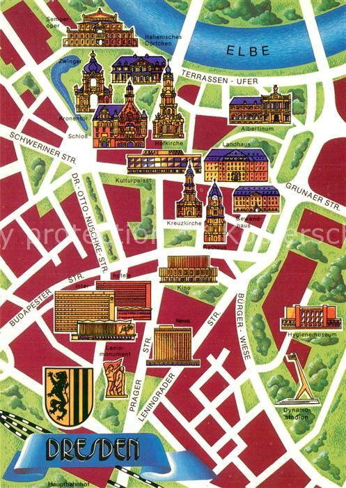 sehenswürdigkeiten dresden karte AK / Ansichtskarte Dresden Stadtplan mit Sehenswuerdigkeiten der