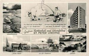 AK / Ansichtskarte St Peter Ording Abendstimmung am Meer Duenenbaake Seebruecke Arche Noah Duenen Kat. Sankt Peter Ording