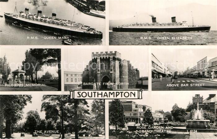 AK / Ansichtskarte Southampton R.M.S. Queen Mary R.M.S. Queen Elizabeth Bar Street Pilgrims Memorial Kat. Southampton