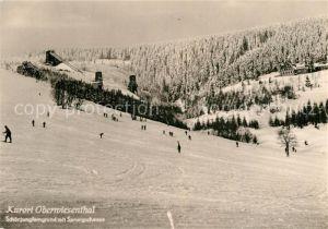 AK / Ansichtskarte Oberwiesenthal Erzgebirge Schoenjungferngrund mit Sprungschanze Kat. Oberwiesenthal