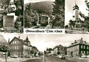AK / Ansichtskarte Oberweissbach Bergbahn Froebelturm Markt Central Cafe Gedenkstein am Geburtshaus von Friedrich Froebel Kat. Oberweissbach