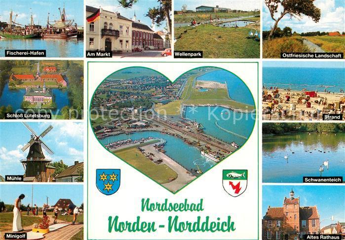 ak ansichtskarte norddeich ostfriesland fischerei hafen markt wellenpark muehle schloss. Black Bedroom Furniture Sets. Home Design Ideas