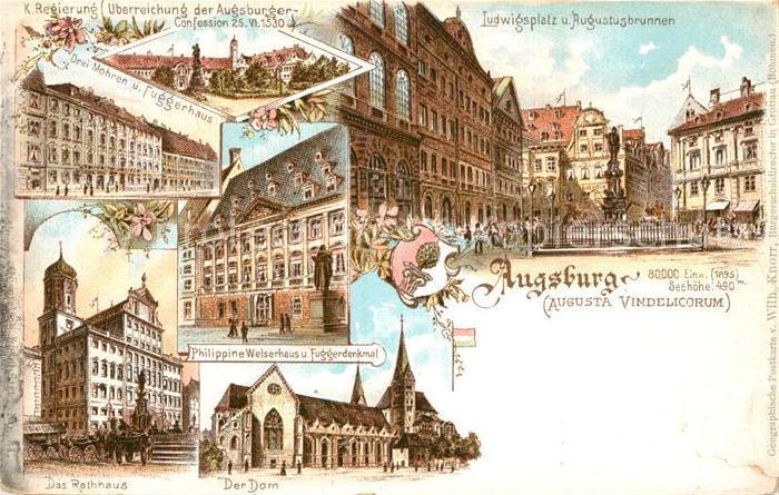 AK / Ansichtskarte Augsburg Regierung Ludwigsplatz Augustusbrunnen Drei Mohren Fuggerhaus Kat. Augsburg
