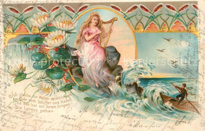 Ak Ansichtskarte Lorelei Loreley Gedicht Boot Kat Sankt Goarshausen