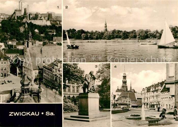 AK / Ansichtskarte Zwickau Sachsen Blick vom Dom Hauptmarkt Schwanenteich Robert Schumann Denkmal Kat. Zwickau