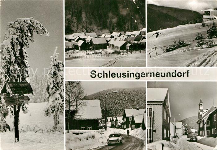AK / Ansichtskarte Schleusingerneundorf Ortsansichten im Winter Wegweiser Kat. Nahetal Waldau
