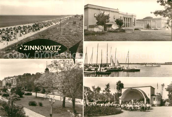AK / Ansichtskarte Zinnowitz Ostseebad Strand Konzertplatz Seepromenade
