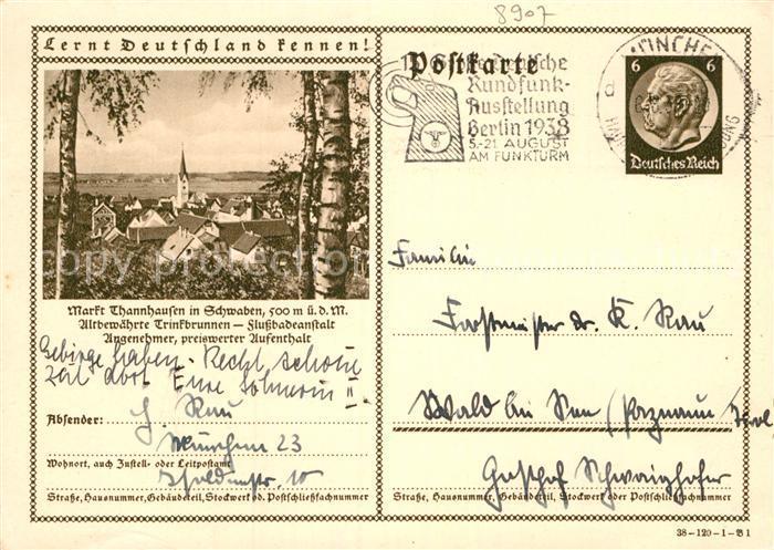 Schwaben Karte Deutschland.Plz Thannhausen Bayern Postleitzahlen 86470 Günzburg Deutschland