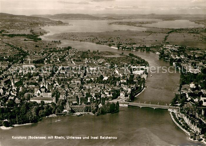 AK / Ansichtskarte Konstanz Bodensee mit Rhein Untersee Insel Reichenau Fliegeraufnahme Kat. Konstanz