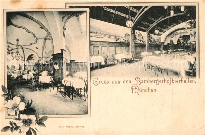AK / Ansichtskarte Muenchen Bamberger Hof Bierhallen Kat. Muenchen