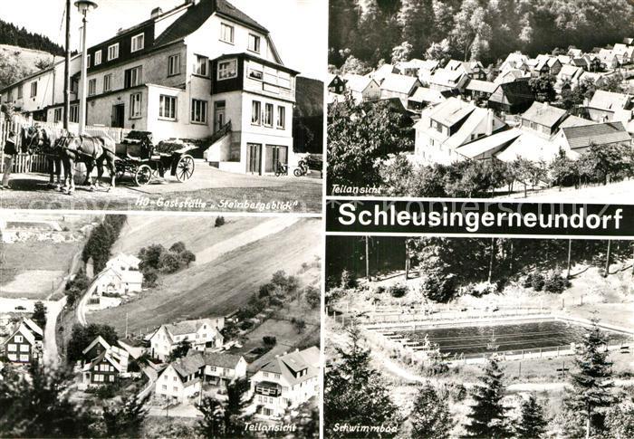 AK / Ansichtskarte Schleusingerneundorf Restaurant Steinbergsblick Pferdekutsche Freibad Kat. Nahetal Waldau