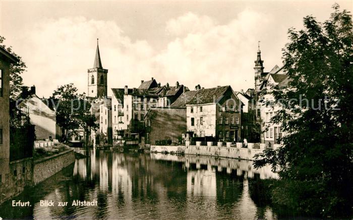 AK / Ansichtskarte Erfurt Blick zur Altstadt Partie an der Gera Kat. Erfurt