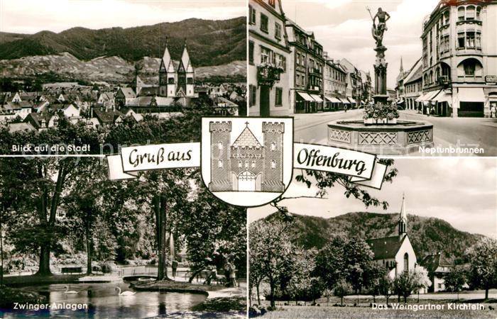 AK / Ansichtskarte Offenburg Stadtbild mit Kirche Neptunbrunnen Zwingeranlagen Weingartner Kirchlein Wappen Kat. Offenburg