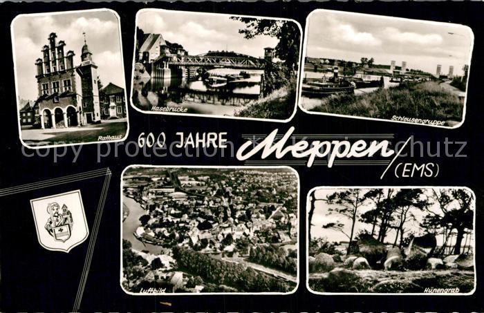 AK / Ansichtskarte Meppen Rathaus Hasebruecke Schleusengruppe Huenengrab Fliegeraufnahme Kat. Meppen