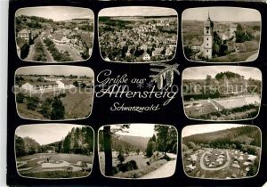 AK / Ansichtskarte Altensteig Schwarzwald Teilansichten Luftkurort Kirche Minigolf Freibad Campingplatz Bromsilber