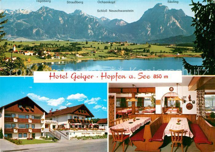 AK / Ansichtskarte Hopfen See Hotel Geiger Gastraum Panorama  Kat. Fuessen