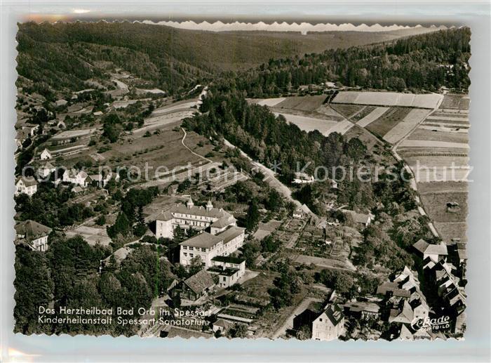 AK / Ansichtskarte Orb Bad Fliegeraufnahme Kinderheilanstalt Spessart Sanatorium Kat. Bad Orb