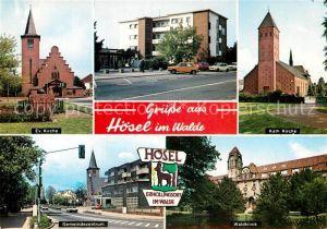 AK / Ansichtskarte Hoesel Evangelische katholische Kirchen Waldklinik  Kat. Ratingen
