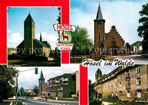 AK / Ansichtskarte Hoesel Katholische evangelische Kirchen Waldklinik Gemeindezentrum Kat. Ratingen