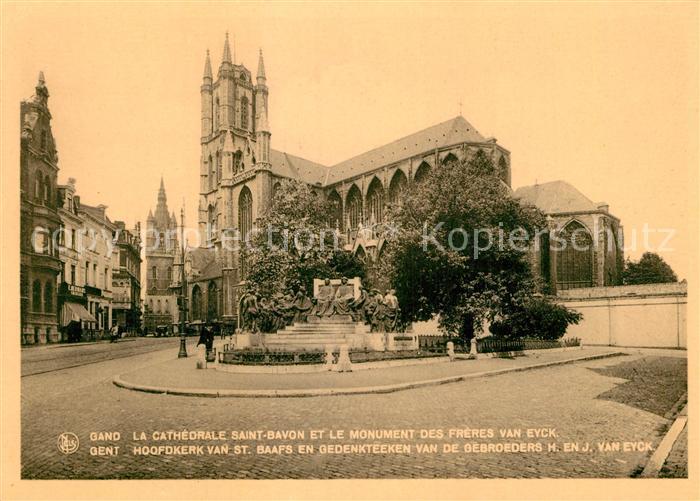 AK / Ansichtskarte Gand Belgien Cathedrale Saint Bavon et le Monument des Freres Van Eyck Kat. Gent Flandern