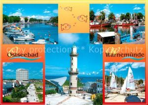 AK / Ansichtskarte Warnemuende Ostseebad Alter Strom Fischkutter Hotel Neptun Promenade Teepott Leuchtturm Strandsegeln Kat. Rostock