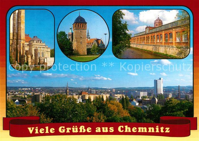 AK / Ansichtskarte Chemnitz Steinerner Wald Roter Turm Markthalle Stadtpanorama Kat. Chemnitz