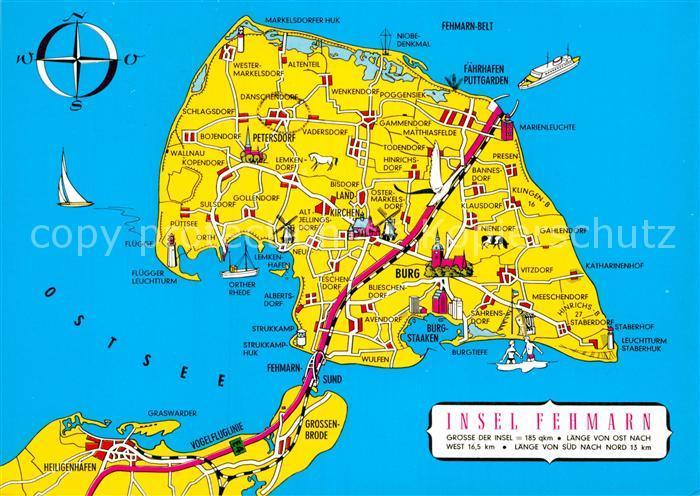 Ak Ansichtskarte Insel Fehmarn Landkarte Kompass Kat Fehmarn Nr