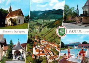 AK / Ansichtskarte Passail Fliegeraufnahme Freibad Ortspartie Kirche Kat. Passail