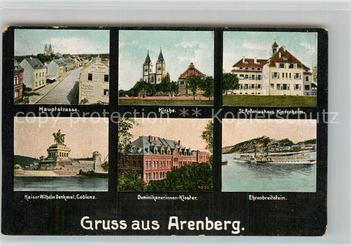 AK / Ansichtskarte Arenberg Koblenz Hauptstrasse Kirche St Antoniushaus Kaiser Wilhelm Denkmal Dominikanerinnen Kloster Ehrenbreitstein Kat. Koblenz