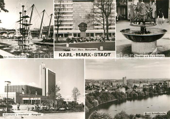 AK / Ansichtskarte Karl Marx Stadt Monument Stadthalle Interhotel Kongress Omnibusbahnhof  Kat. Chemnitz