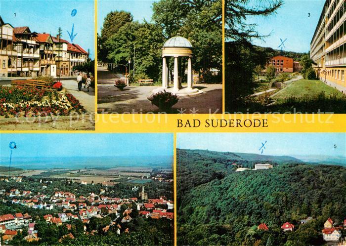 AK / Ansichtskarte Bad Suderode Rathausplatz Behringer Brunnen Kurpark Sanatorium Thomas Muentzer Turm Kat. Bad Suderode
