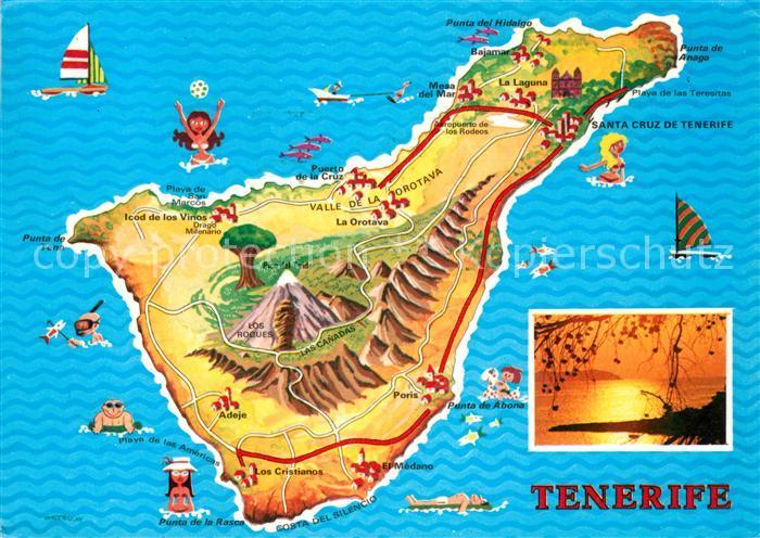 Teneriffa Karte Spanien.Ak Ansichtskarte Tenerife Landkarte Sonnenuntergang Am Meer Kat Islas Canarias Spanien