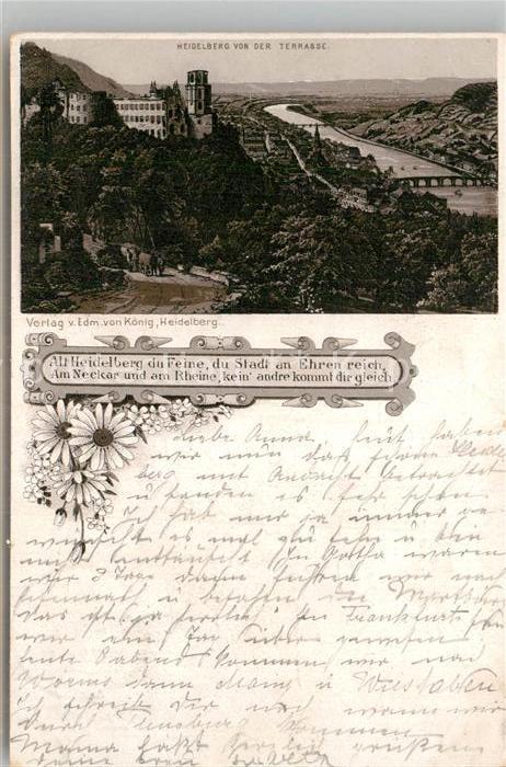 AK / Ansichtskarte Heidelberg Neckar Blick von der Terrasse Kat. Heidelberg