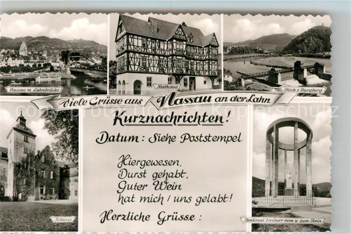 AK / Ansichtskarte Nassau Lahn Lahnbruecke Schloss Denkmal Freiherr vom und zum Stein Burgberg Kat. Nassau
